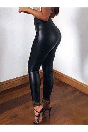 YOINS Black Lace Patchwork High-Waisted Leggings