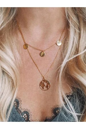 YOINS World Map Pendant Double Layered Necklaces