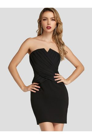 YOINS Strapless backless Crossed Front Dress