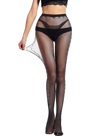 YOINS Black Lace Hollow Design High-Waisted Stocking
