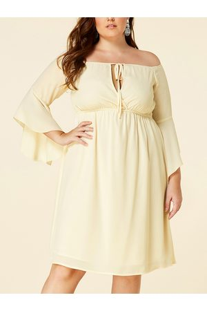 YOINS Plus Size Apricot Off The Shoulder Long Sleeves Dress
