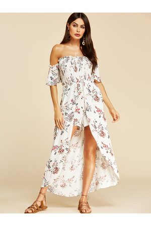 YOINS Pleated Floral Print Off The Shoulder Sleeveless Dress