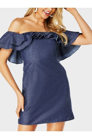 YOINS Ruffle Sleeves Off The Shoulder Dress