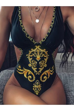 YOINS Black Tribal Cut Out Deep V Neck Sleeveless One Pieces Swimsuit