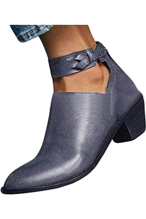 YOINS Vintage Chunky Heel Boots Cutout Ankle Strap Boots