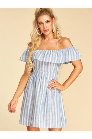 YOINS Double Layer Stripe Off The Shoulder Short Sleeves Dress