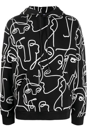 MARCELO BURLON ALL OVER FACES OVER HOODIE BLACK WHITE