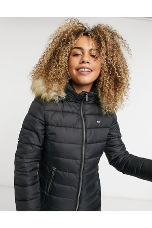 Tommy Jeans Mujer Abrigos de lana - Faux fur hooded padded jacket in black