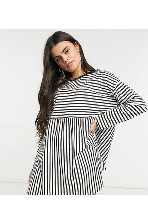 ASOS Mujer Maxi - ASOS DESIGN Petite super oversized long sleeve smock dress in black and white stripe