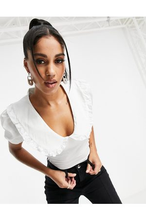 I saw it first Frill oversized collar cropped shirt in white