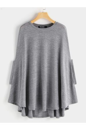 YOINS Round Neck Soft Knit Cape with Arm Holes