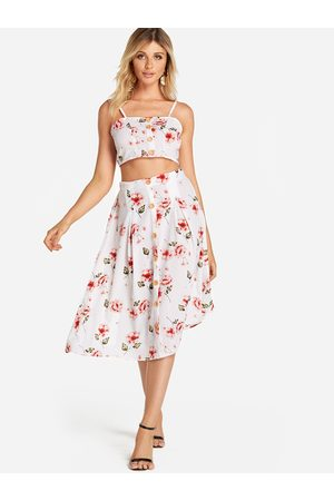 YOINS Random Floral Print Self-tie Design Top & Midi Skirt Two Piece Outfits