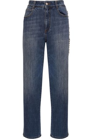 Stella McCartney Jeans Cropped Rectos De Eco Denim