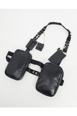 ASOS Modular chest harness in black faux leather with clip on wallets