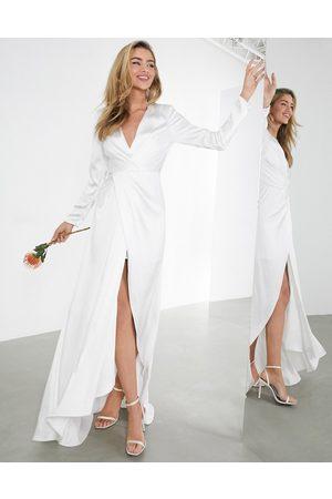 ASOS Sadie pleated plunge wrap wedding dress in satin