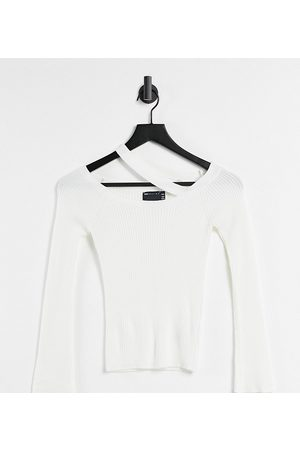 ASOS ASOS DESIGN Petite jumper with off shoulder and strap detail in white