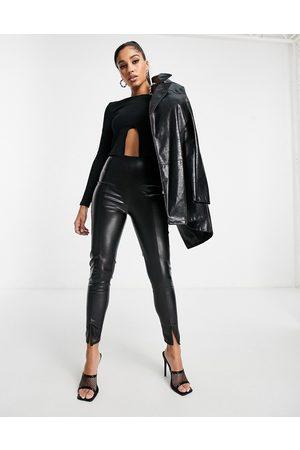 I saw it first Pu split front trouser in black