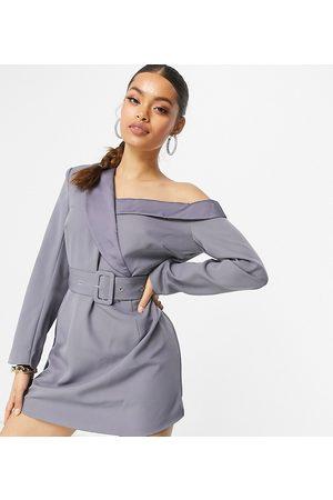 Missguided Bardot blazer dress in slate blue