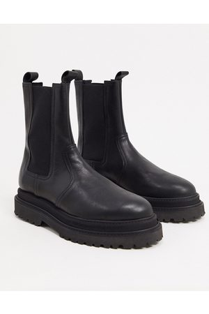 ASOS High chelsea calf boots on stacked sole in black high shine leather