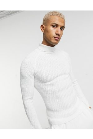 ASOS Muscle fit basket stitch roll neck jumper in white