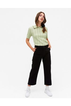 Monki Mabel organic cotton trousers in black