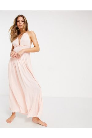 ASOS Halter tiered maxi beach dress in pink metallic stripe crinkle