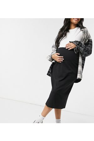 Outrageous Fortune Maternity Exclusive midi bodycon skirt in black