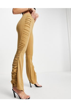 Fashionkilla Gathered flared trousers co ord in camel