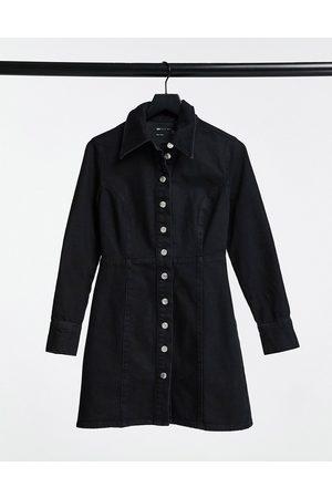 ASOS Denim fitted shirt dress in black