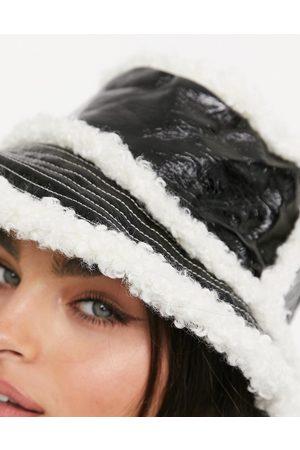 ASOS Vinyl bucket hat in black