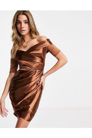 Club L Club L satin bardot mini dress and wrap skirt in brown