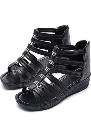 YOINS Peep Toe Zip Design Gladiator Wedge Sandals