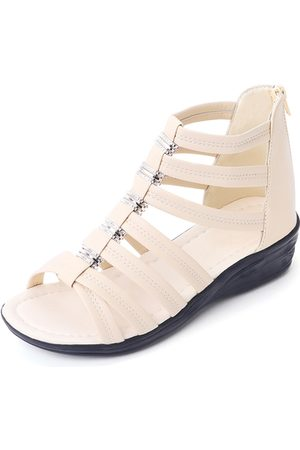YOINS Peep Toe Zip Design Gladiator Sandals