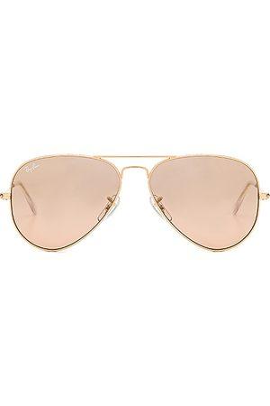 Ray-Ban Gafas de sol aviator en color marrón talla all en Oro y espejo de plata rosa y marrón cristal - Brown. Talla all.