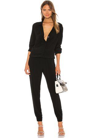 MONROW Crepe long sleeve jumpsuit en color talla S en - Black. Talla S (también en XS).