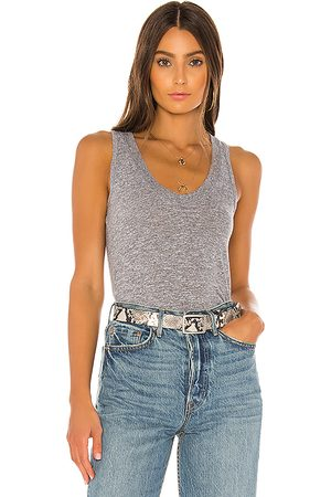 MONROW Mujer Tops - Top ajustado en color gris talla L en - Gray. Talla L (también en M, S, XS).