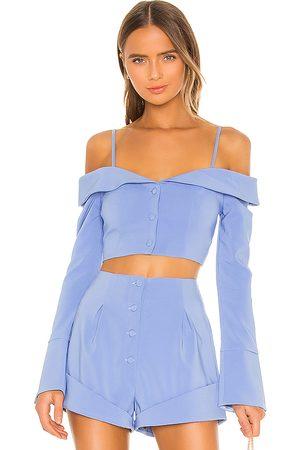Camila Coelho Paulina top en color azul talla L en - Blue. Talla L (también en M, S, XL, XS, XXS).
