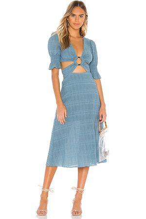 Tularosa Vestido midi nanette en color azul talla L en - Blue. Talla L (también en M, S, XL, XS, XXS).