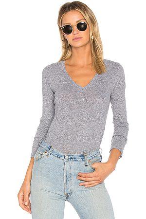 MONROW Camiseta de punto de manga larga con cuello de pico en color gris talla L en - Gray. Talla L (también en M, S, XS).