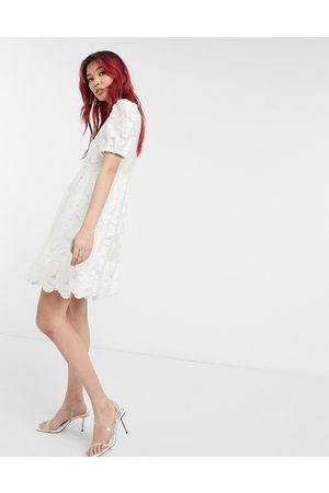 & OTHER STORIES Jacquard fit and flare mini dress in white