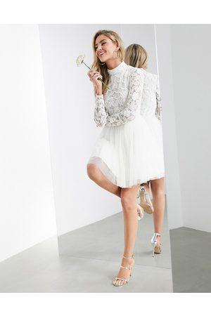 ASOS Arabella embellished bodice mini wedding dress with mesh skirt