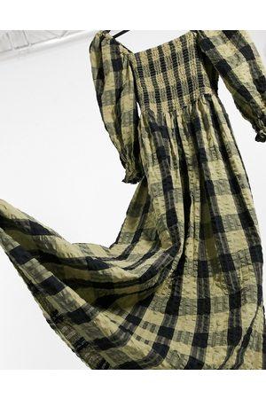 ASOS Shirred maxi dress in black and green check