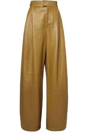 Bottega Veneta Pantalones De Piel Con Cintura Alta