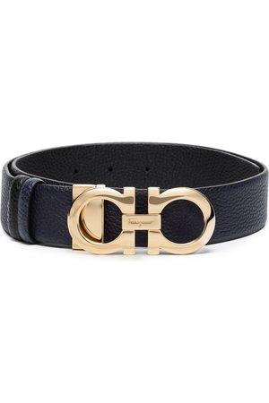 Salvatore Ferragamo Blue Donna Gancini leather belt