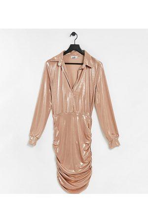 John Zack Metallic collar detail ruched mini dress in rose gold
