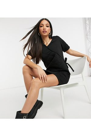 ASOS ASOS DESIGN Tall quilted puff sleeve wrap mini dress in black