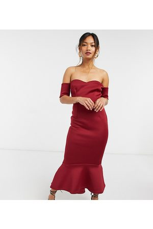 True Violet Exclusive bardot sweetheart pephem midi dress in plum