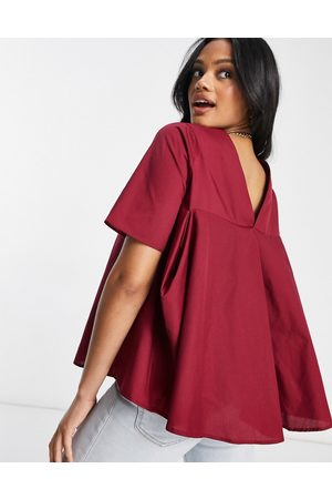 ASOS Short sleeve cotton top with pleat back detail in berry