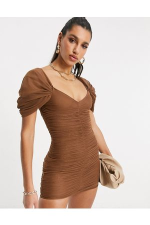 ASOS Sweetheart neck line mesh ruched mini dress in chocolate