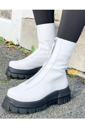ASOS Apricot premium leather chunky zip front boots in white